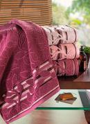 Toalha de Rosto Folhas  Rosa Escuro