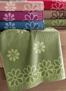 Toalha de Banho Flores  Verde