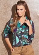 Camisa Feminina com  Estampa de Len�o