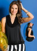 Blusa  Preta  Balon� com Detalhe de Babados