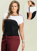 Blusa  Preto e Branco  Plus Size
