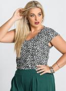 Blusa Decote V  Estampa Oncinha  Plus Size