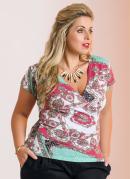 Blusa Decote V  Estampa Len�o  Plus Size