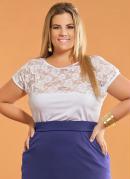 Blusa com Renda Plus Size  Branca