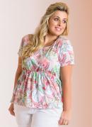 Blusa Detalhe Vazado  Estampada  Plus Size
