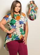 Blusa Mullet  Tropical  Plus Size