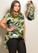 Blusa Mullet Plus Size  Mix Estampa