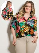 Blusa Mullet  Floral  Plus Size