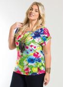 Blusa Decote Redondo  Floral  Plus Size