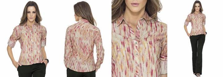 Camisa Estampada Rosa Malwee