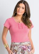 Camiseta Baby Look com Renda no Decote Rosa