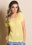 Camiseta  Amarela  Detalhe Furadinha