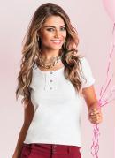 Camiseta Baby Look com Renda no Decote  Branca