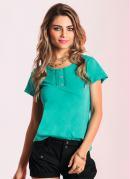 Camiseta Baby Look com Renda no Decote  Verde