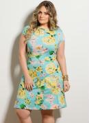 Vestido Evas� Floral Plus Size