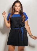 Vestido Plus Size  Preto e Azul