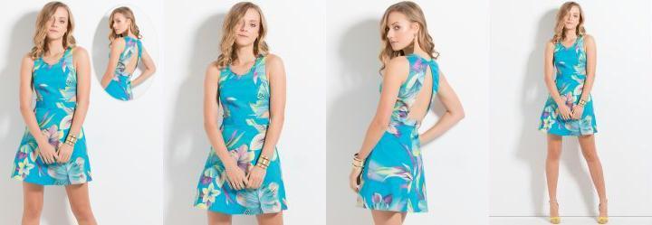 Vestido Colcci Floral com Recorte Costas