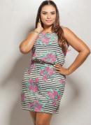 Vestido Estampa Plus Size  Listrada e Floral