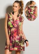 Vestido Decote V Estampa Tropical