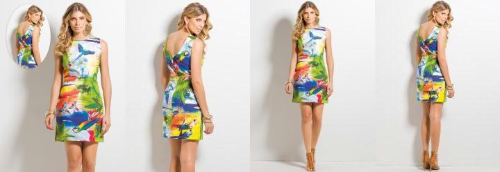 Vestido Decote V Tropical