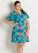 Vestido Detalhe Gota Estampa Flores Plus Size