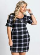 Vestido Detalhe Pregas Xadrez Plus Size