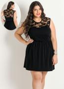 Vestido Detalhe Renda  Preto  Plus Size