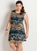Vestido  Estampa Animal Print  Plus Size