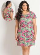 Vestido Detalhe Vazado  Estampa Flores  Plus Size