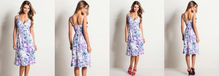Vestido Detalhe Babado Mix Flores