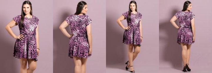 Vestido Evas� Animal Print Roxo