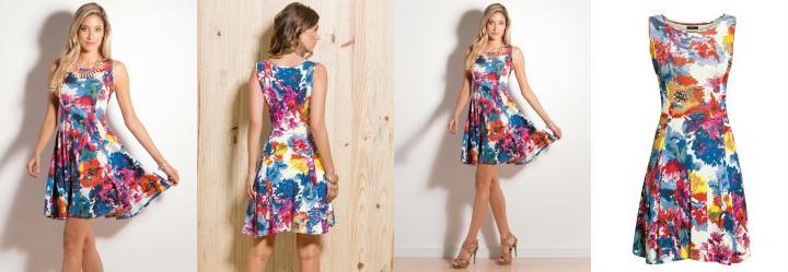 Vestido Evas� Aquarela Floral