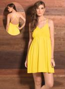 Vestido Evas� com Decote V  Amarelo