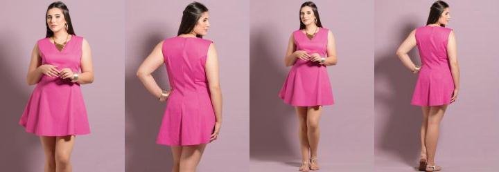 Vestido Evas� Pink Plus Size