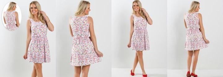 Vestido Detalhe Renda Estampa Flores