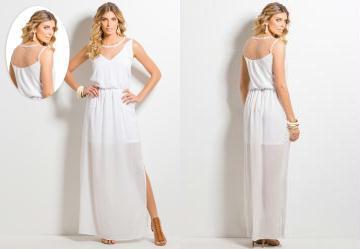 Vestido Longo com Fendas Branco