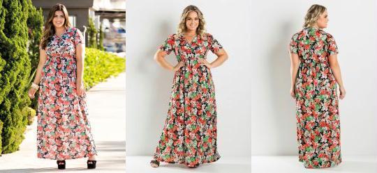 Vestido Longo Estampa Flores Plus Size