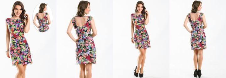 Vestido Estampa Floral Decote nas Costas