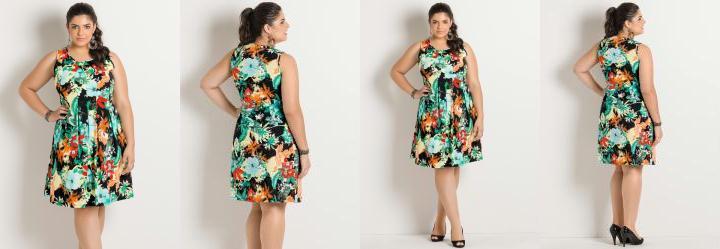 Vestido Mix Flores Plus Size