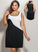 Vestido Curto Bicolor Plus Size  Preto e Branco