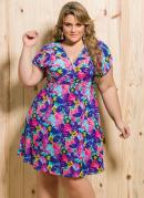 Vestido Decote V  Floral Colorido  Plus Size