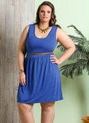 Vestido sem Mangas  Azul  Plus Size