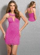 Vestido Tubinho Detalhe Transparente Rosa