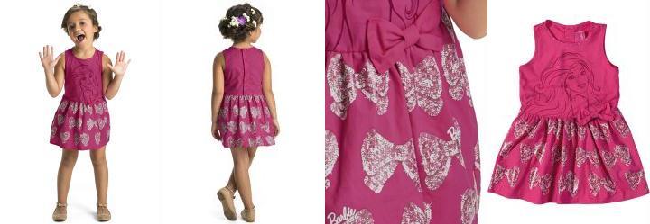 Vestido Estampa Barbie Rosa Malwee