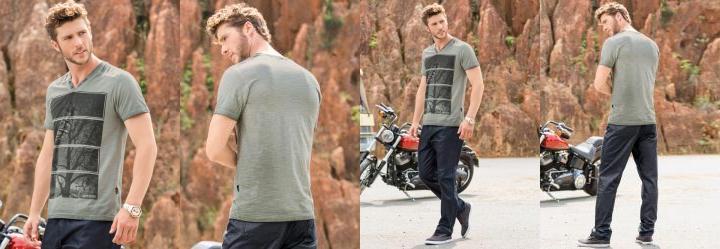 Camiseta Actual Decote V Cinza Estampada