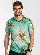 Camiseta Masculina  Verde Estampada