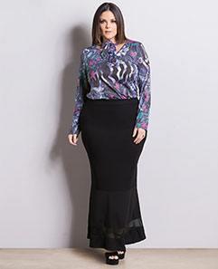 Blusa Floral com Gola e Saia Longa com Tule Plus Size