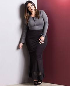 Body Cinza e Saia Longa com Tule Plus Size