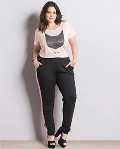 T-shirt Rosa e Calça Jogging Plus Size