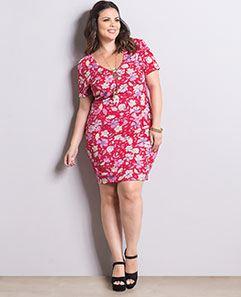 Vestido Tubinho Floral Plus Size